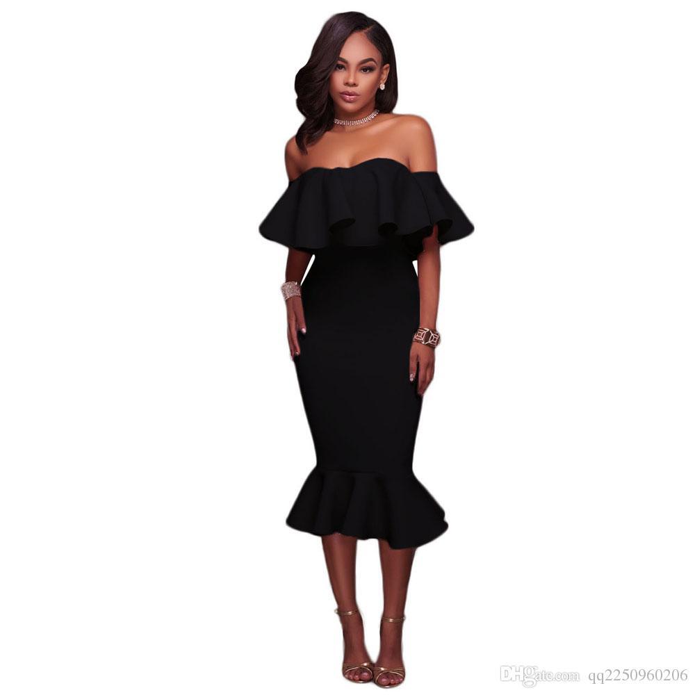 Großhandel 18 Neue Art Und Weise Victoria Beckham Slash Nck Ruffle  Jumpsuit Sexy Figurbetonte Kleid Abend Partei LD18 Freies Verschiffen Von