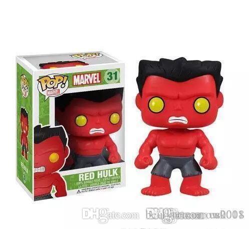 Kutu Oyuncak Hediyelik Güzellik ABD Yeni varış Funko Pop Marvel Comics Avengers Kırmızı Hulk Bobble Head Vinil Eylem Şekil