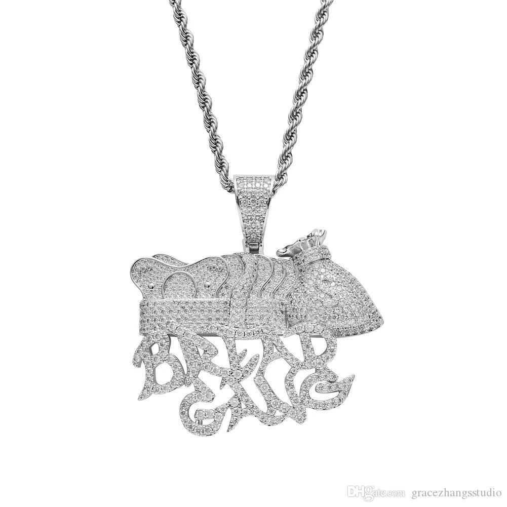 hip hop BREAD GANG collares colgantes para hombres, mujeres, diamantes de lujo, letras de plata, colgantes, chapado en platino, circonitas de cobre, capital, collar