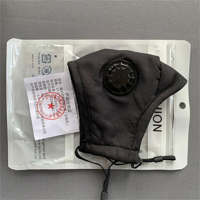 Masque de visage de concepteur noir avec vanne PM2.5 Filtrer des masques de mode anti-poussière fumée de fumée d'intérieur réglable intérieure de protection réutilisable