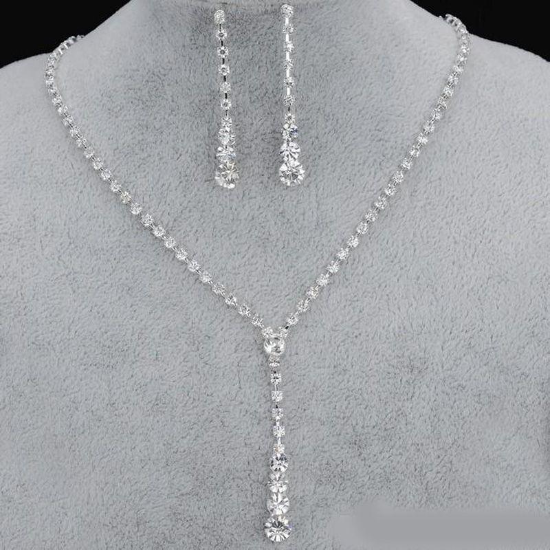 Bling cristal de noiva conjunto de jóias de prata banhado a colar conjuntos de jóias brincos de diamante de casamento para noiva Damas mulheres Acessórios