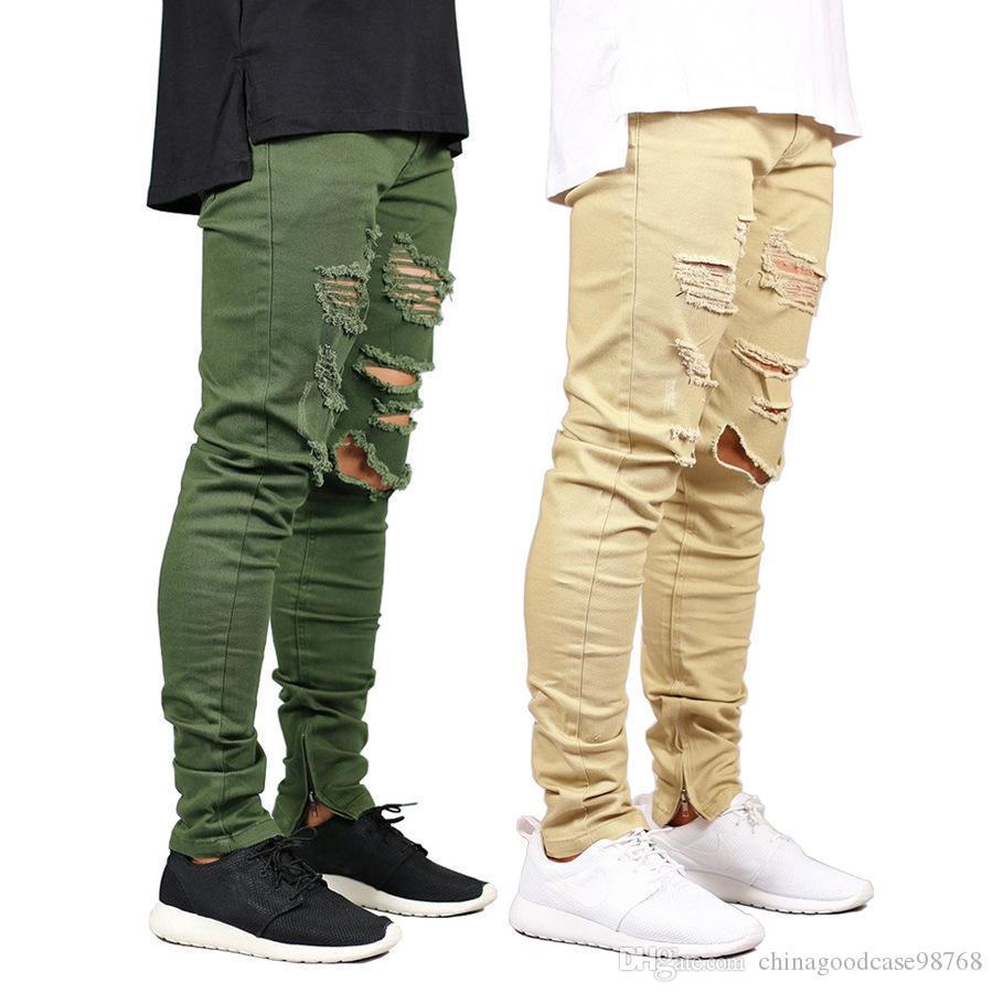 Ropa de diseño para hombre Hombres Jeans Agujeros rasgados cremallera de los pantalones del lápiz Kanye Calle Hiphop monopatín pantalones de Jean