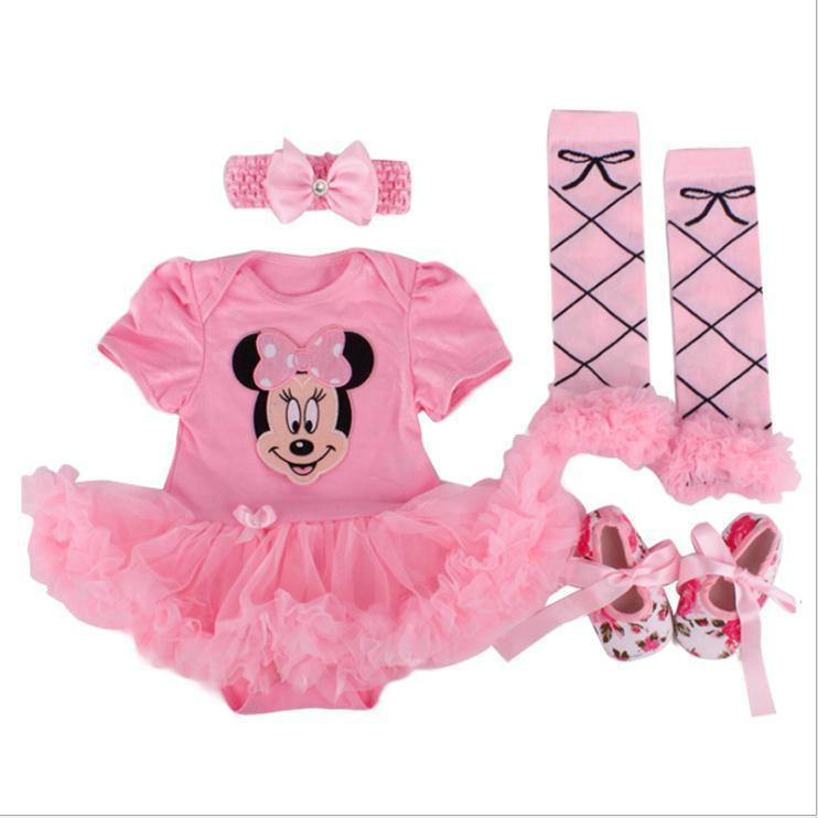 Neuestes Baby Kleidung stellt Neugeborenes Mädchen-Cartoon-Strampler Tutu-Rock + Stirnband + Schuhe + Socken Kinder Baumwollkleidung 1. Geburtstag-Geschenk