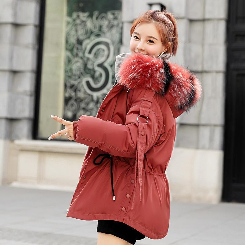 2019 chaqueta de la manera invierno de las mujeres de algodón acolchado cálido cuello de piel blanca corta de las señoras parka abrigos para mujer chaquetas Espesar y Negro