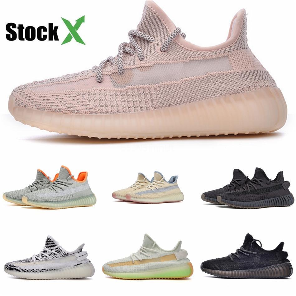 Kanye West Bulut Beyazı Sitrin Tasarımcı Sneakers Siyah Yansıtıcı Zebra Yeşil Glow Antila Yansıtıcı Erkekler Kadınlar Spor Ayakkabı # DS640 Running Bred