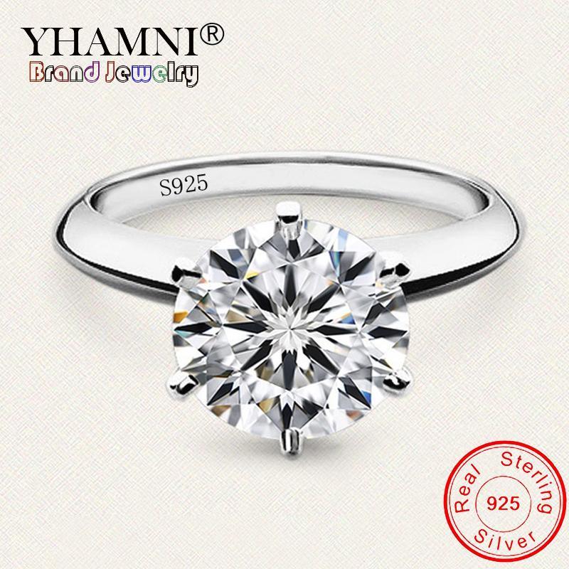 ارسال حرة شهادة 100٪ الأصل 925 الصلبة الفضة مختبر الماس خواتم الزفاف للعروس المرأة المشاركة هدية مجوهرات LR121