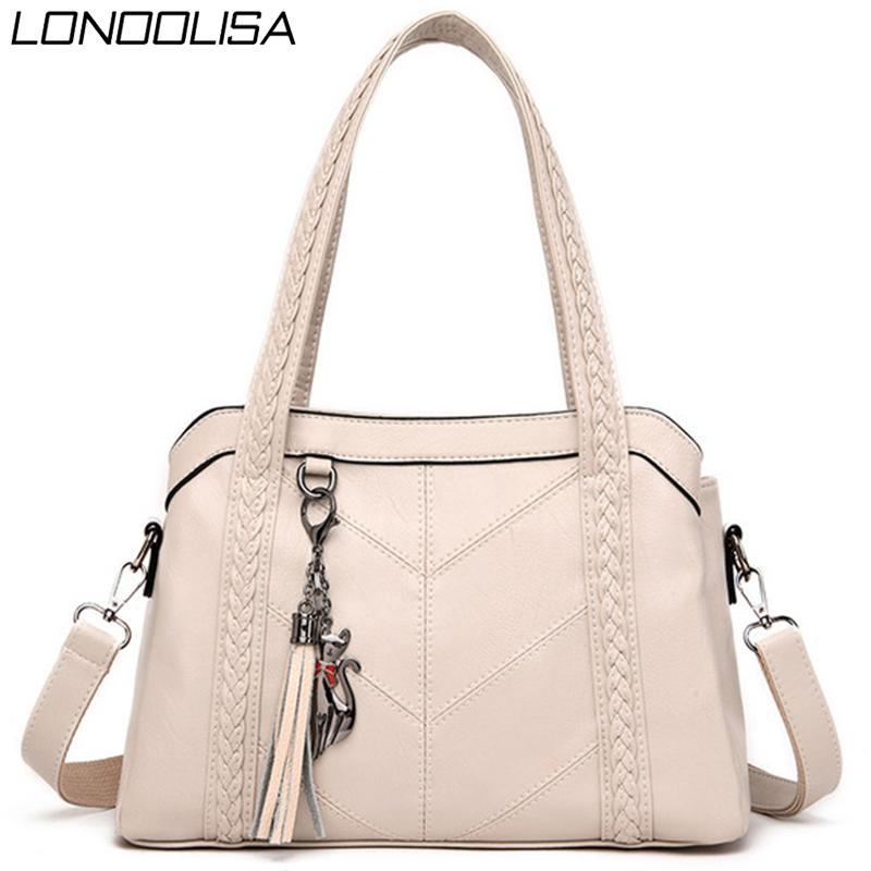 3 Основная сумка из мягкой кожи кисточки Tote Роскошные сумки Женские сумки конструктора дамы рук плеча Crossbody Сумки для женщин 2020 Сак T200605