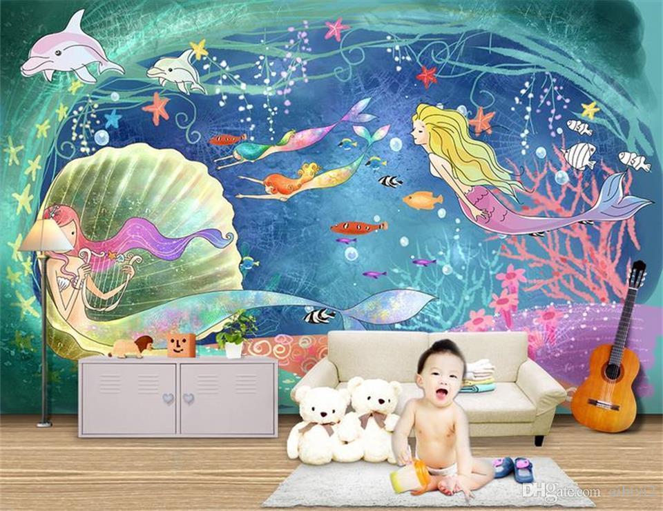 Özel 3D Fotoğraf Kağıdı Duvar Oturma Odası Yatak Odası Kanepe TV Zemin duvar Karikatür deniz dünya denizkızı Resim Duvar Kağıdı Sticker Ev dekor
