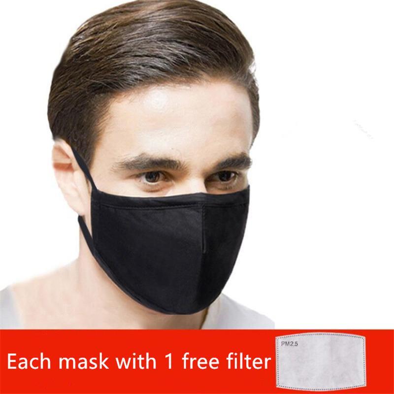 Máscaras negro reutilizable cara anti-polvo y el humo de la boca de algodón tela ajustable reutilizable máscara de protección con 1 filtro para hombre de las mujeres 10pcs