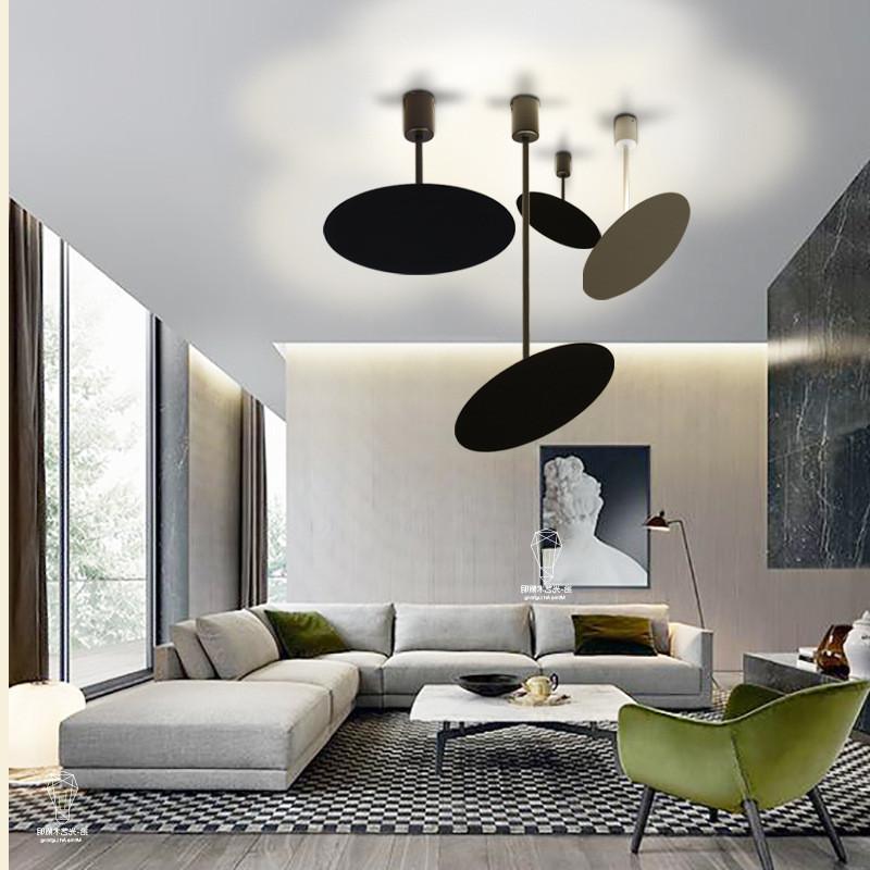 Acheter Moderne Led Plafonnier Blanc Noir En Metal Rond Plafonnier