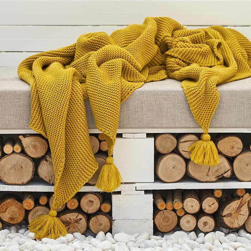 Solido nappa Coperta tessuta Couch tiro coperte a maglia con decorativo della frangia leggera per Bed divano del soggiorno Decor