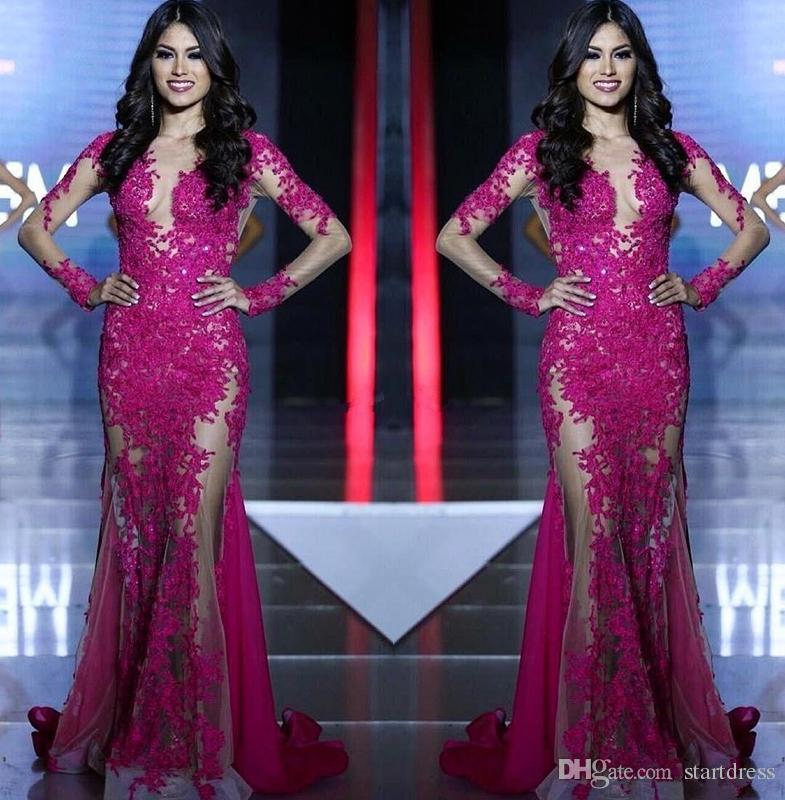 Miss World Pageant Sexy See Though Hot Pink Lace Tull Prom Dresses Illusion Long Sleeves Mermaid Formal Arabic Evening Party Gowns 2019