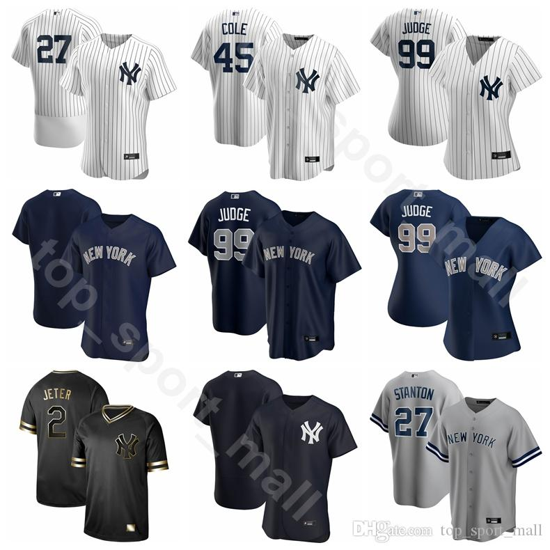 2020 Homens Baseball Mulheres Youth 26 DJ LeMahieu Jersey 45 Gerrit Cole 99 Aaron Judge 25 Gleyber Torres 11 Brett Gardner branca da equipe