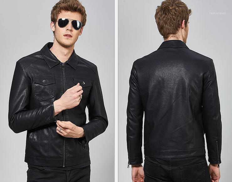 Sonbahar İlkbahar Hombres Ceket Palto Giyim Erkek Siyah PU Deri Uzun Kollu Yaka Boyun Ceketler