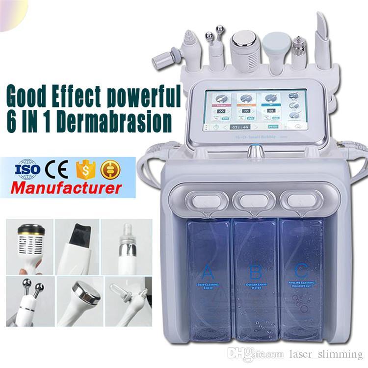 2019 Mais Novo 6 em 1 Hydra Dermoabrasão RF Bio lift Spa Máquina Facial Máquina Facial RF Água e casca Spray de oxigênio frio CE