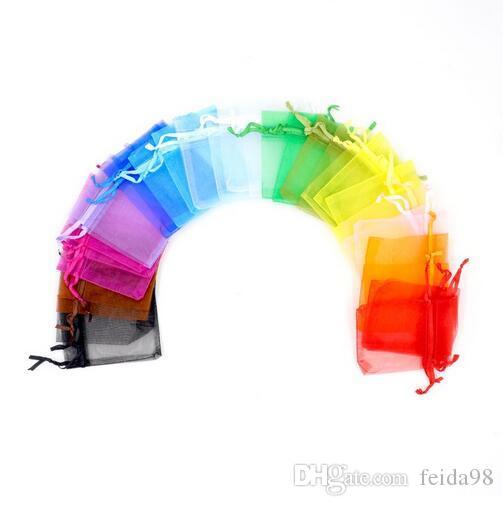 3 formati colorati bianco trasparente confezioni coulisse sacchetto bustina organza sacchetto del regalo per gioielli perline festa nuziale imballaggio GB398