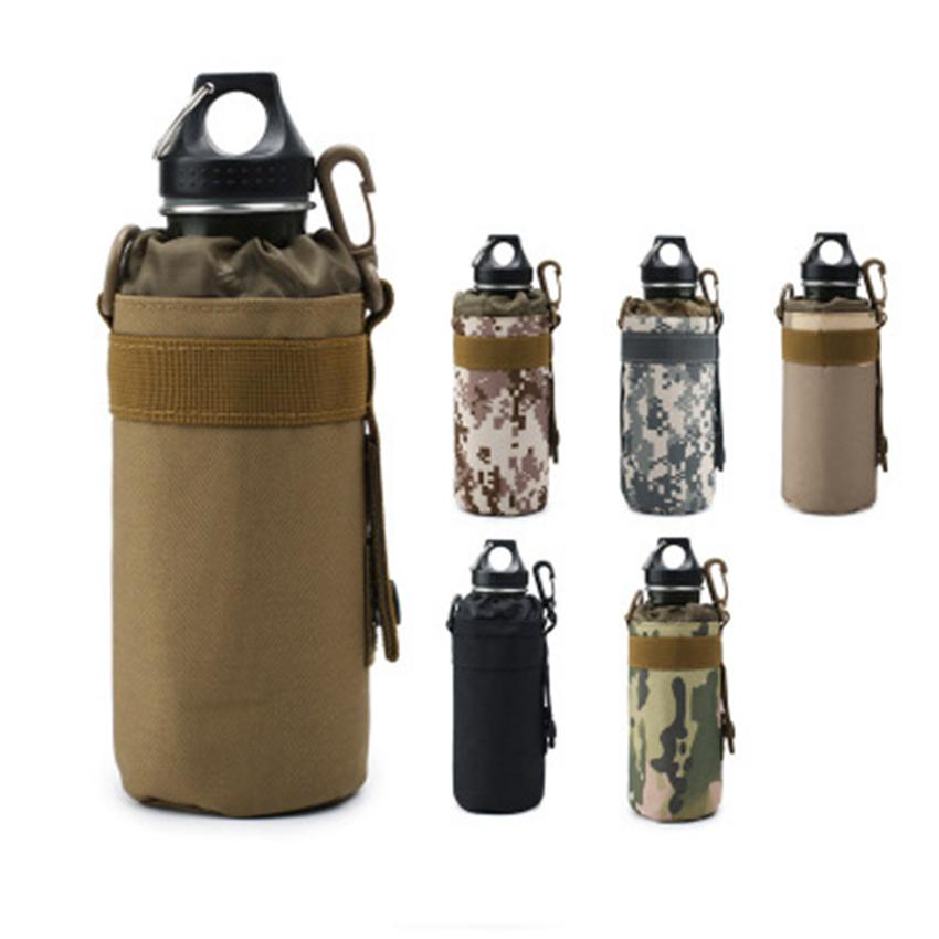 Outdoor sports water bottle bag sleeve portable camouflage tactical mount packs mountain bike cycling cup kettle holder bags LJJZ477