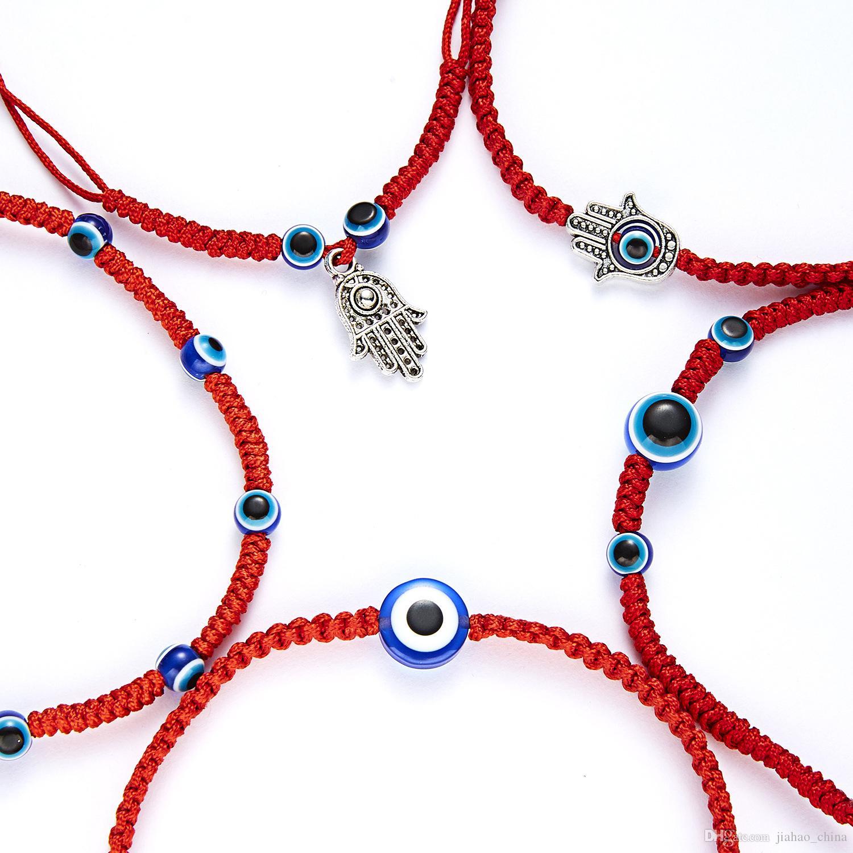 Encantos Azul turco Evil Eye Fátima Amizade Sorte Bangles Kabbalah religiosa Hamsa mão pulseiras corda vermelha da tecido pulseira ajustável