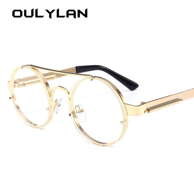 Vintage Round Steampunk Sunglasses Women Men Brand Metal Sun Glasses Ladies UV400 Steam Punk Design Sunglass Male Female