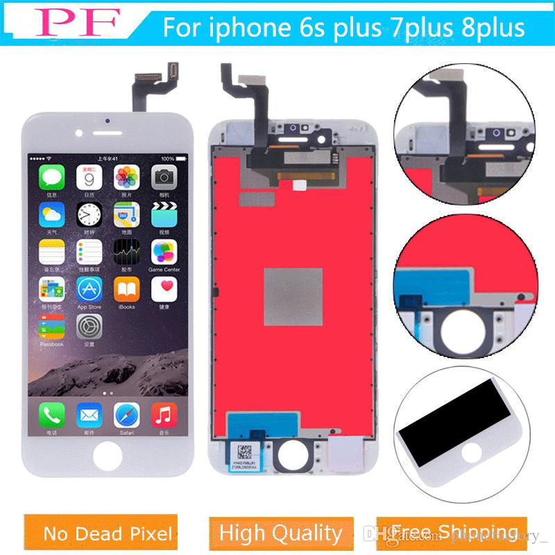 아이폰 6S 고휘도 품질 A + LCD 디스플레이 7 8 PLUS 3D 터치 스크린 디지타이저 어셈블리 교체 없음 죽은 픽셀