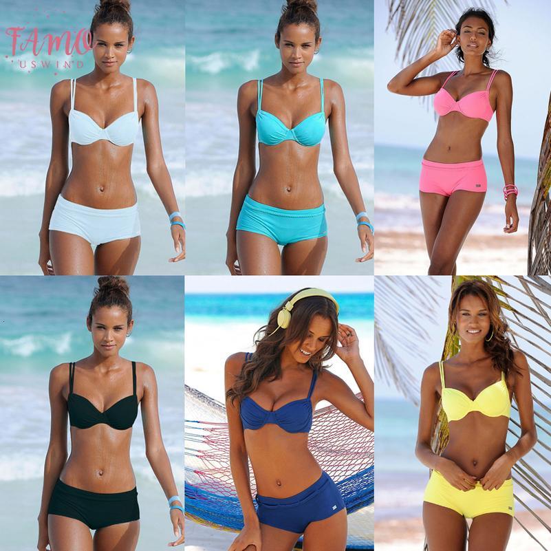 Bikini 2020 May Women Beach Swimsuit With Shorts Plus Size Bikinis Swimwear Sheer Bikini Black White Yellow Women Wimming Trunks Biquini