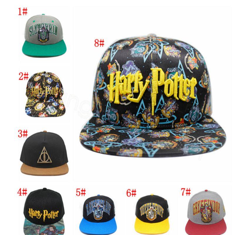 8 stili Harry Potter şapkalar Hogwarts beyzbol şapkası Yetişkin Snapback kap Ayarlanabilir Hip Hop açık şapka Erkekler Kızlar Cosplay Hediye prop BJJ79