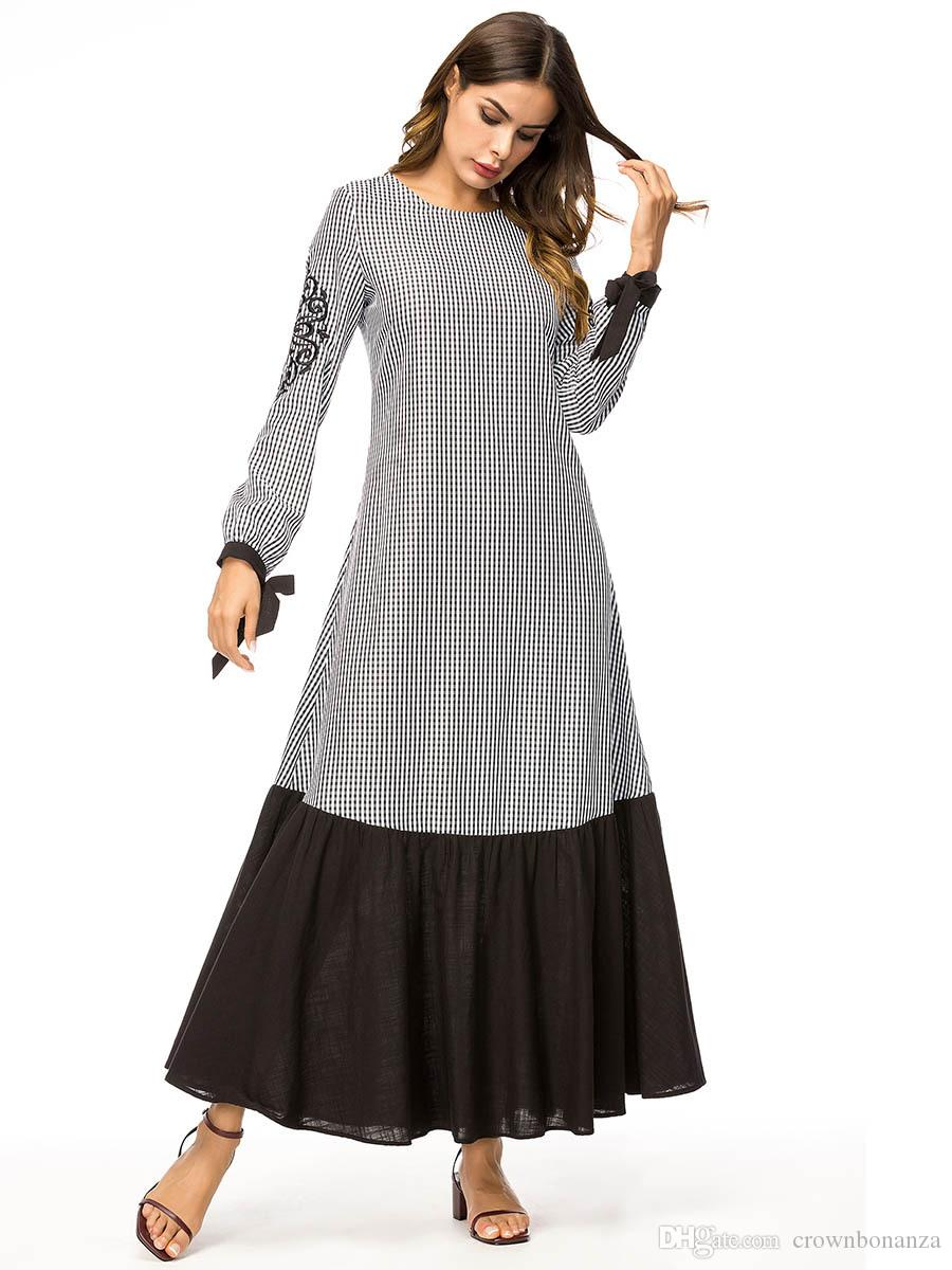 Embroidery Flowers Plaid Maxi Dress Spring Woman Long Sleeves Loose Cotton  Long Dress Robe Plus Size 4XL Arab Muslim Dresses Long And Short Dresses ...