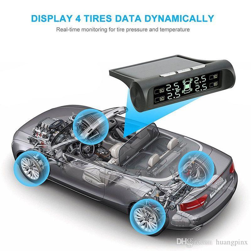을 Freeshipping 태양 에너지 자동차 TPMS 무선 타이어 압력 모니터 경보 시스템 LCD 디스플레이