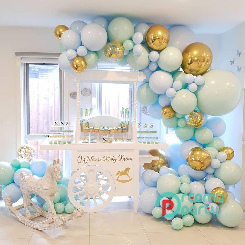 124pcs / set Macaron Blaupastel Balloons Garland Bogen Kit Konfetti Geburtstag Hochzeit Babyparty Geburtstagsparty-Dekoration CY200522