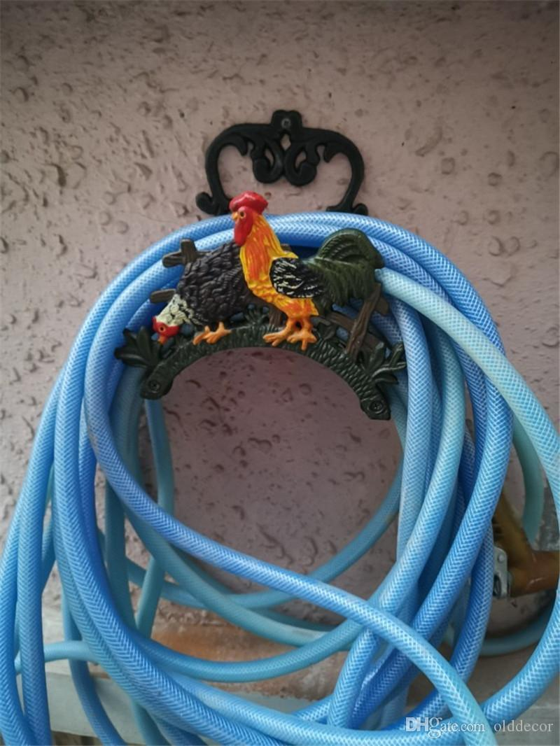 Garden Hose Holder Country Rooster Cock Wall Mounted Cast Iron Metal Hose Hanger Hose Reels Storage Home Courtyard Yard Villa Gardening