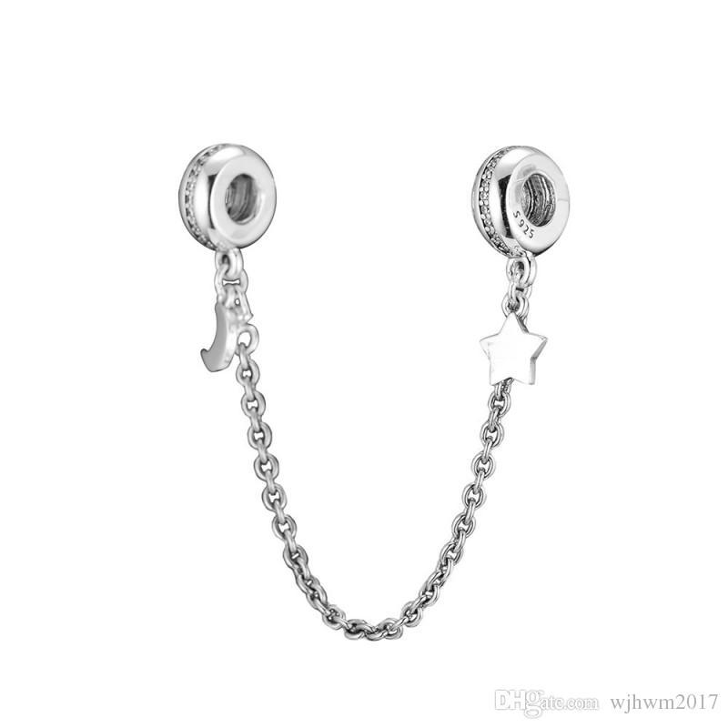 New prata esterlina 925 Bead encanto Sparkling Moon Star Com Segurança Cristal Corrente de grampo Beads Fit Marca Charm Bracelet Jóias DIY