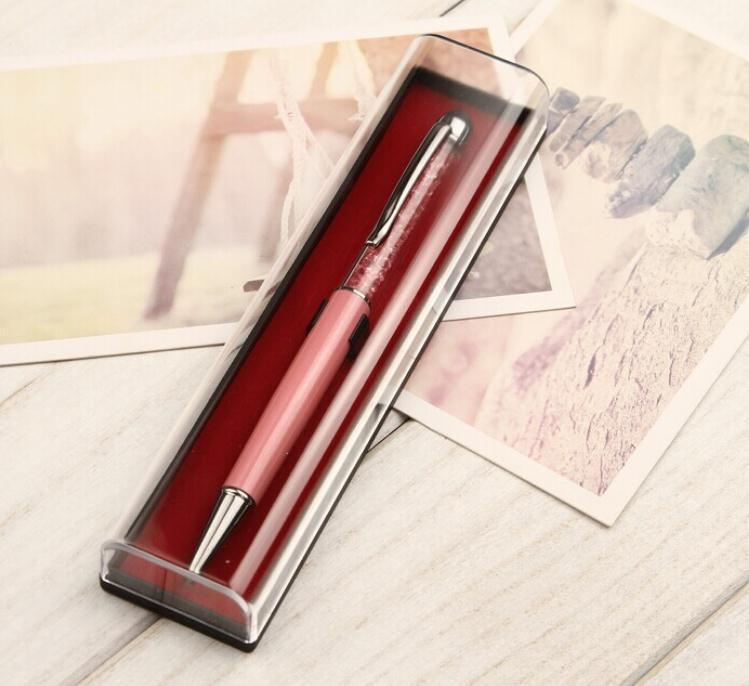 200pcs claires Trousses transparent avec la couleur rouge de fond en plastique Pen Boîtes d'emballage en gros coffrets cadeaux