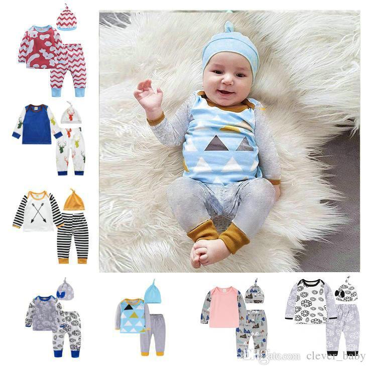 3PCS ragazza del neonato dei vestiti del ragazzo lungo modo del manicotto di stampa T-shirt + pantaloni a strisce + cappello della neonata Boy Set Abbigliamento Bambino