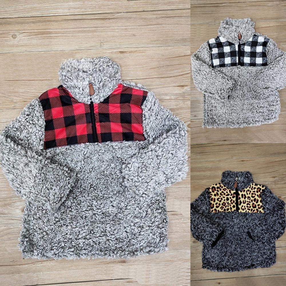 guepardo leopardo rojo búfalo negro blanco negro parche de tela escocesa KIDS SHERPA jerséis boysgirls capas de las chaquetas LY191221