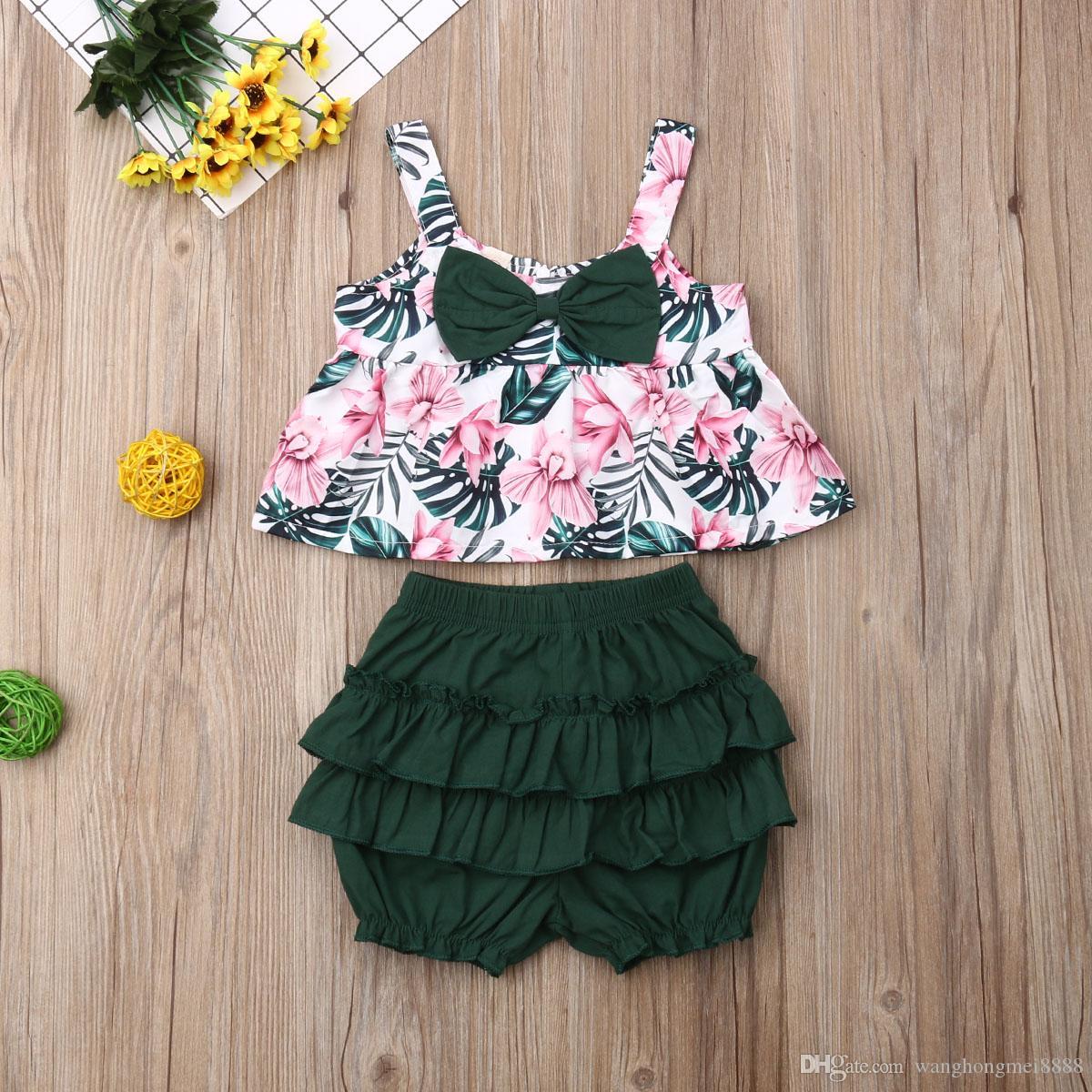 Симпатичные Детская одежда повседневная малыш дети девочка летняя одежда подтяжки лук цветочные печатные топы шорты 2 шт. наряды