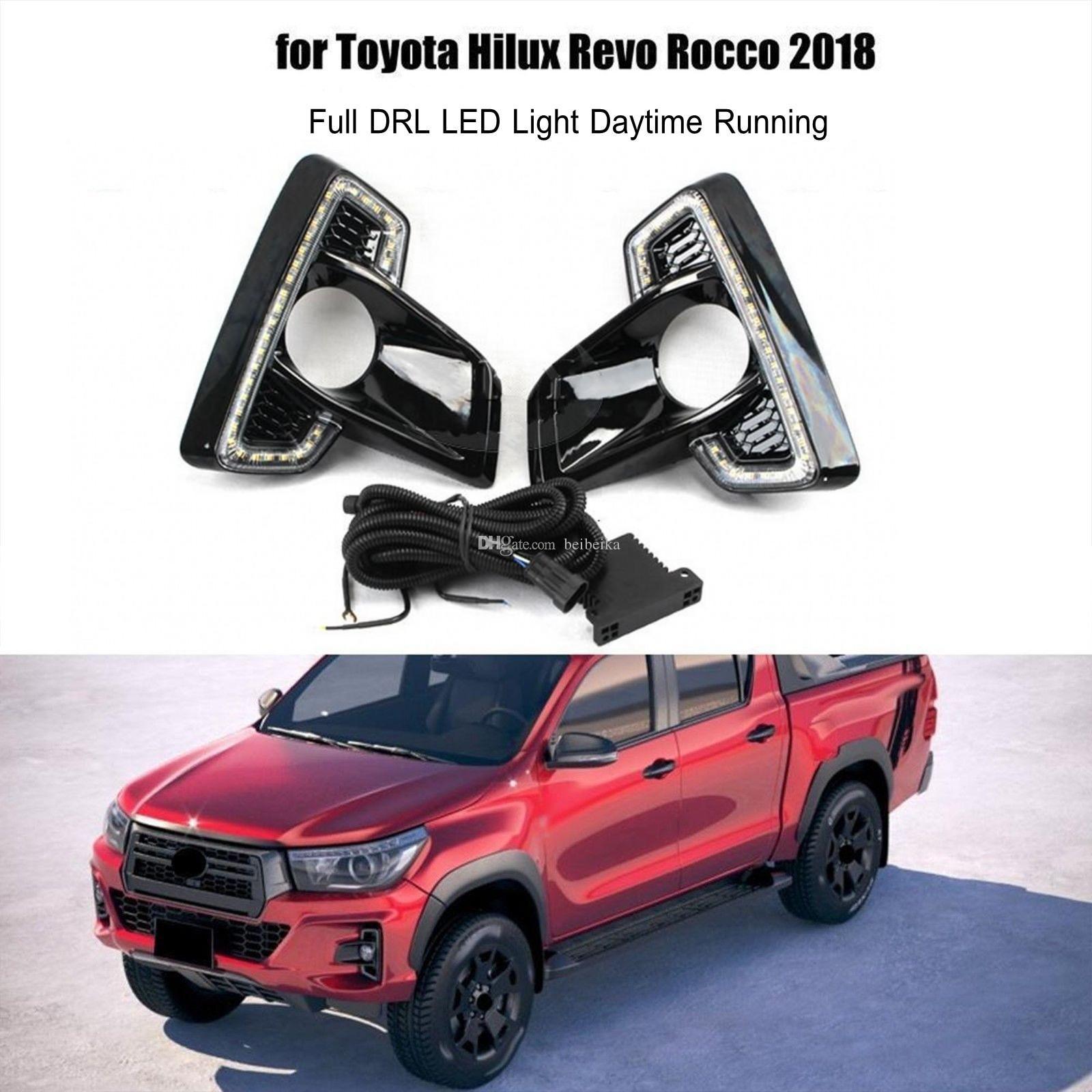 Auto-Tech 1 Car diurna LED DRL correndo luzes Substituição para Toyota Hilux REVO Rocoo 2018 2019