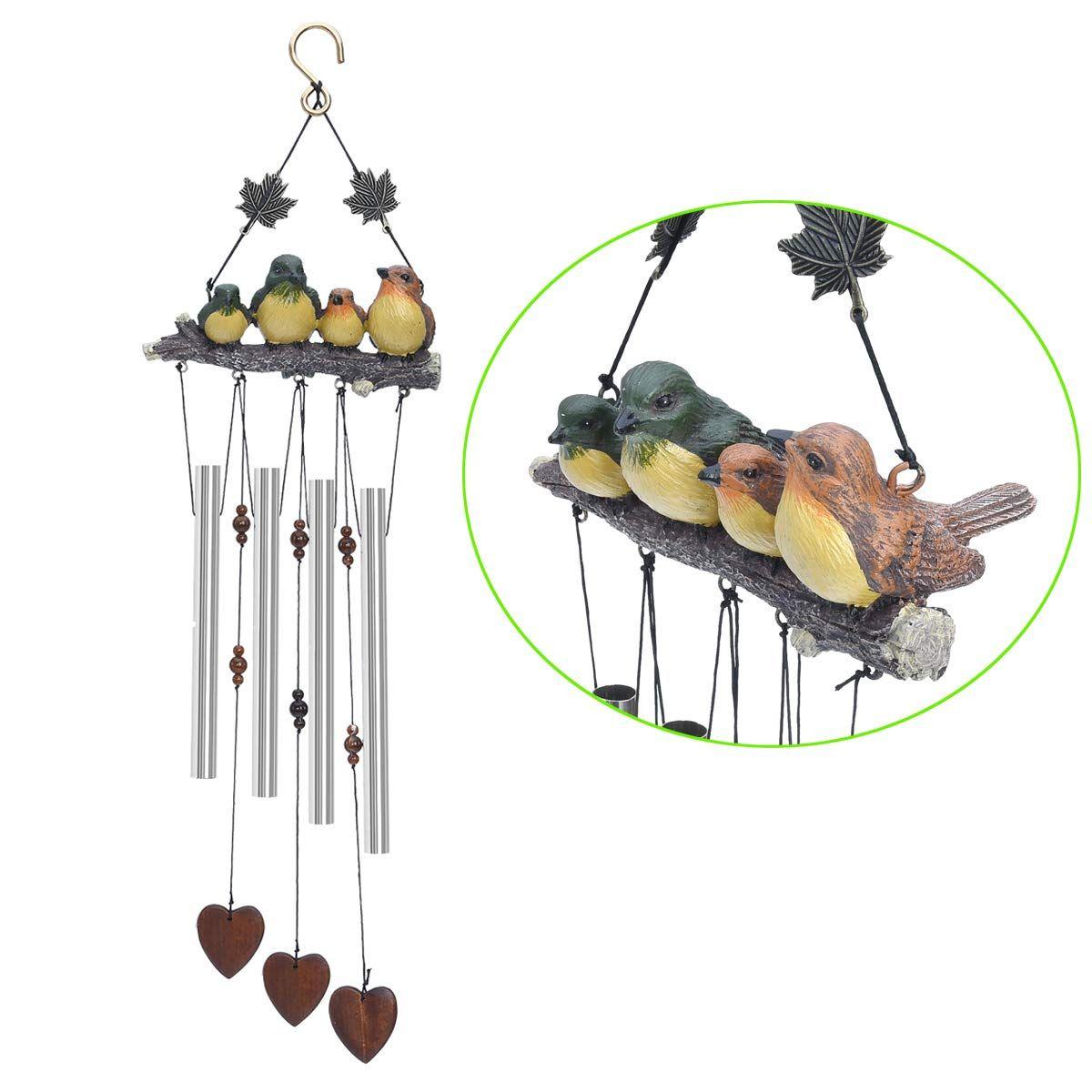 Bwinka Vivid 4 Aves 4 Tubos Incrível Graça Vento Chimes Decoração para Jardim, Quintal, Pátio e Decoração para Casa com Gancho