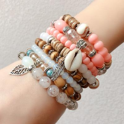 Women Bohemian Shell Pearl Crystal Beads Bracelet Multilayer Wrap Bangle Jewelry