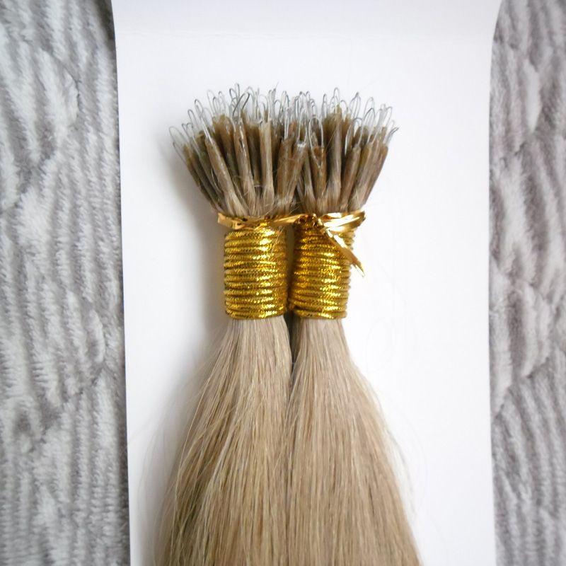 100 pièces Virginie Brésilienne100g Remy Micro Perles Extensions de cheveux dans Nano Ring Links Cheveux Humains Droit 9 couleurs Blonde Cheveux européens