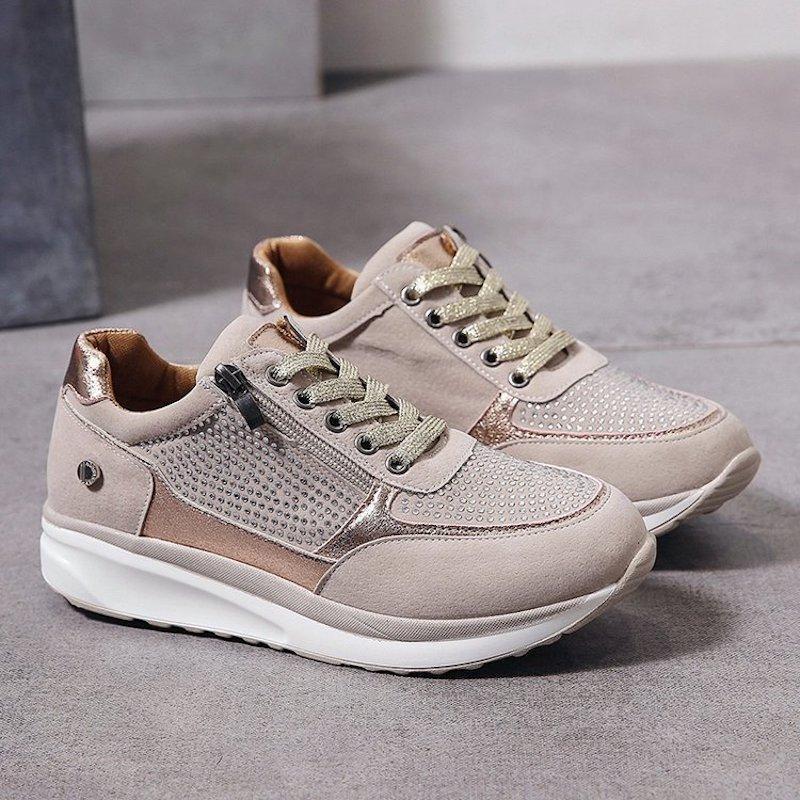 2020 Новая мода Женщины Sneaker Горячая продажа Шнуровка Side Zipper Designs с кристаллическим Девушка Платформа Тренеры Мода Женщины бегуны обувь EU35-43
