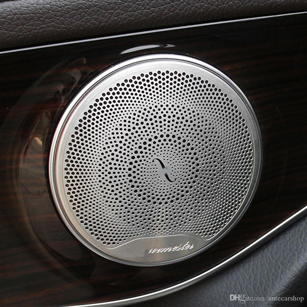 Pour Mercedes-Benz e C Classe W213 W205 GLC X253 C253 260 200 Haut-parleur de porte de voiture Son chromé Chrome Pad Couvercle Couvercle Cadre Cadre Sticker