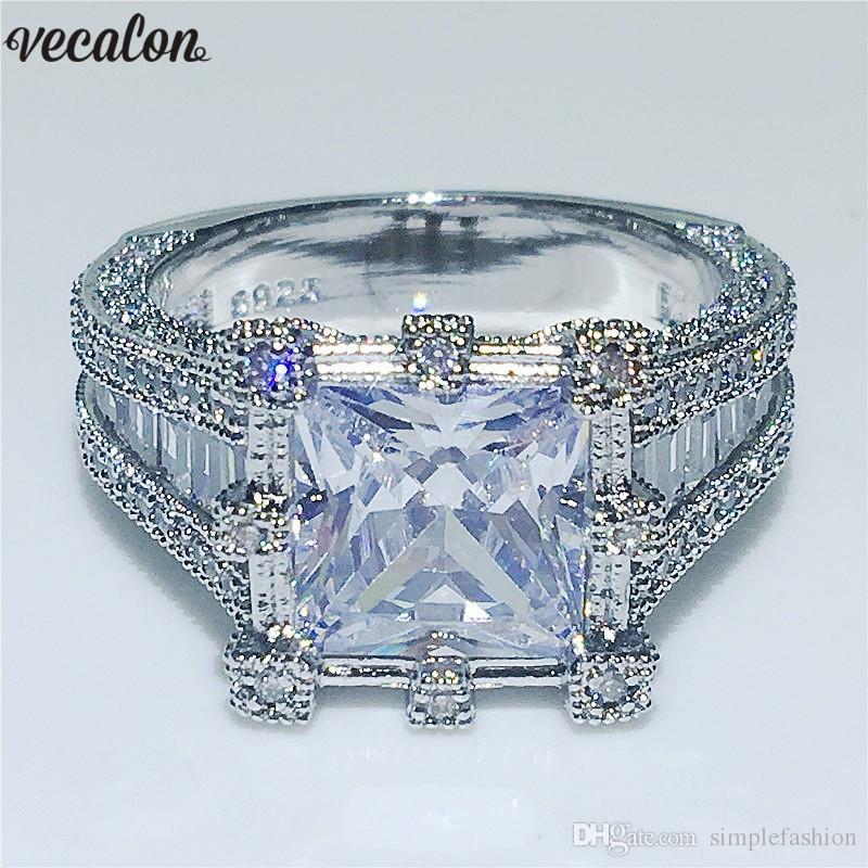 2019 Vecalon Vintage Royal Ring 925 Sterling Silver 3ct Diamond