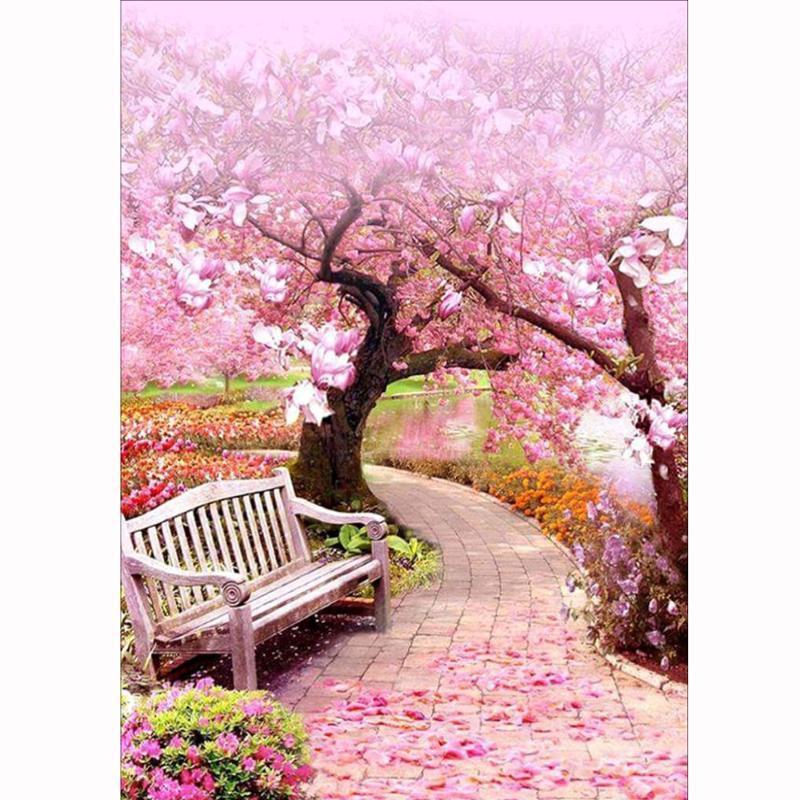 New Diy Diamond Painting Cross Stitch Pink Cherry Blossom Scenery Diamond Embroidery Full Square Rhinestones Embroidery Home Art