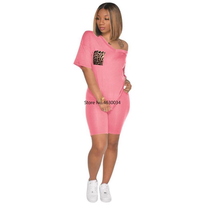 Kadın V Yaka Gerçek Leopar Cep Eşofman Mujer Katı Renk Kısa Kollu Yüksek Bel Şort Takım Elbise 2 Adet Set Kadın