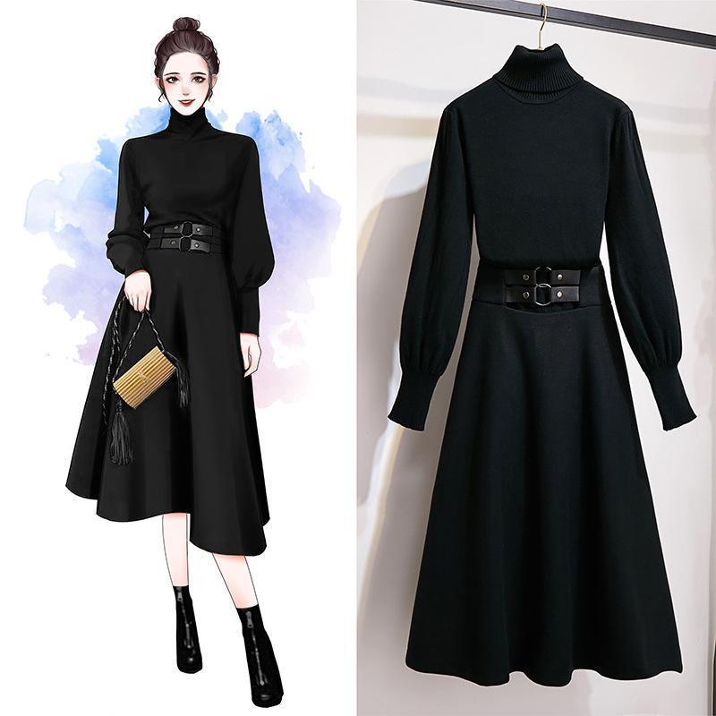 ICHOIX Kore tarzı 2 parça kıyafetler bayanlar ofis seti kadınlar 2 adet üstleri ve etek seti kış giyim 2adet siyah beyaz kazak T200617