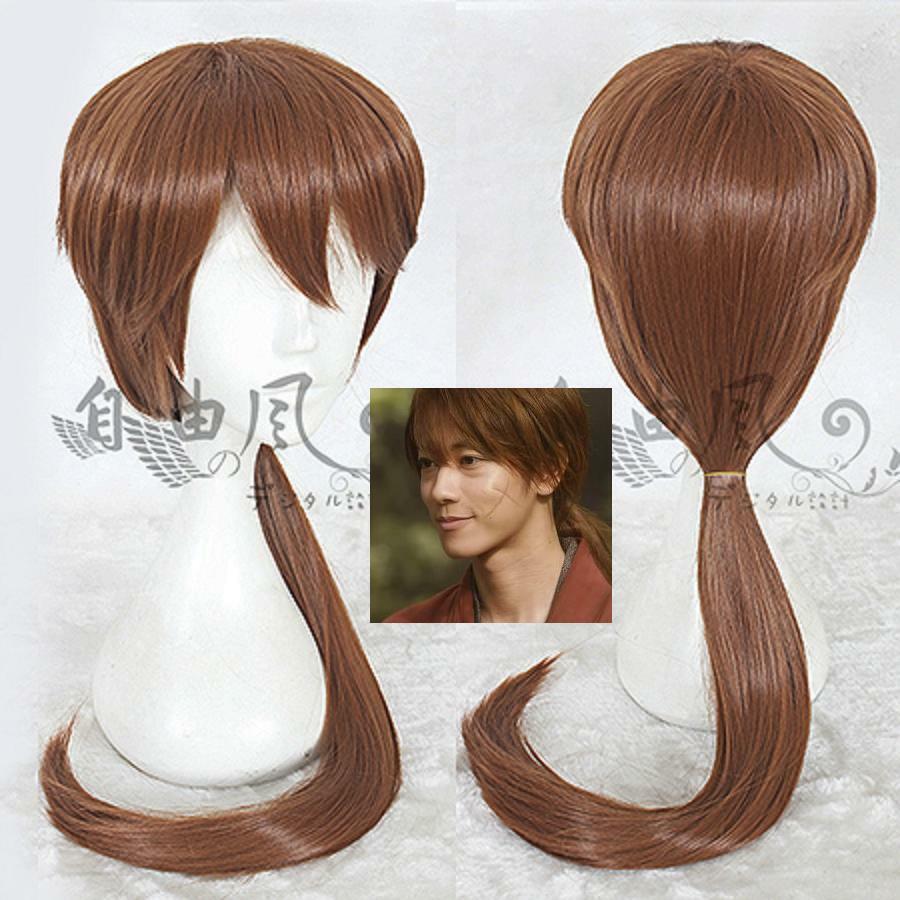 Rurouni Kenshin- HIMURA KENSHIN Filme Castanho Claro peruca de anime cosplay