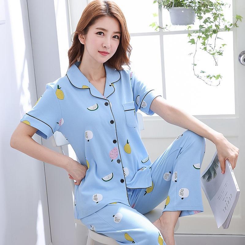 Mujer Pyjamas Gedruckt Sommer Kurzarm Baumwolle Pyjamas Set Zwei Teile Frauen Nachtwäsche Sexy Nachtwäsche Für Frau Schlafset Ekerj