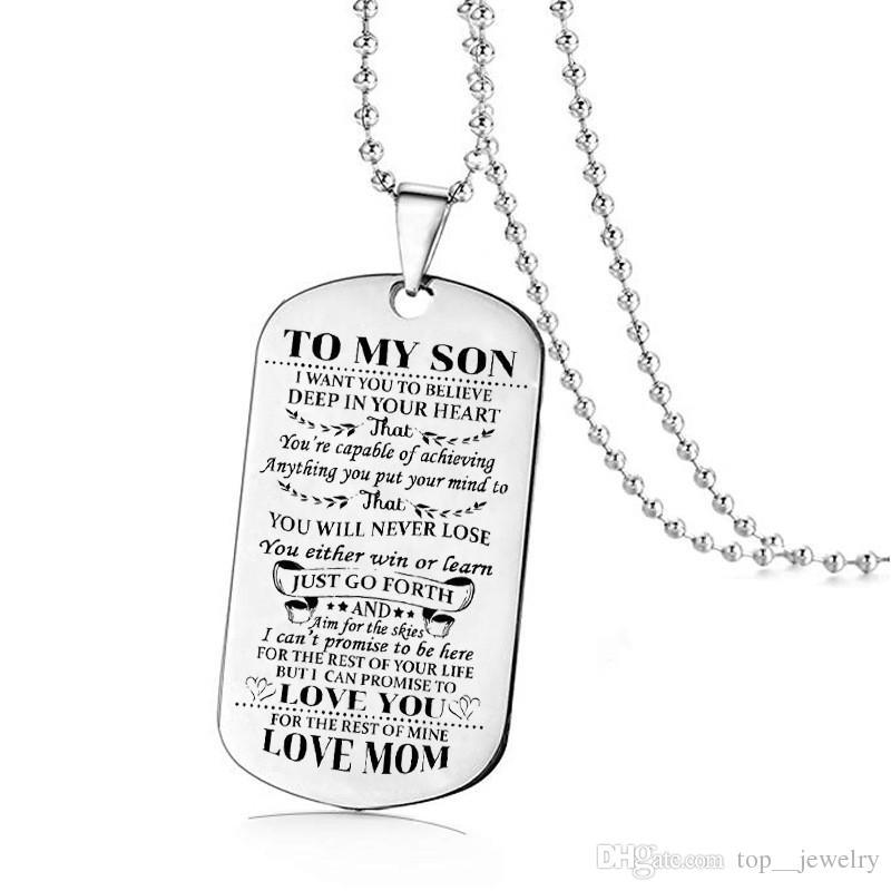 Chegada nova Colar de Aço Inoxidável Mãe Filho Pingente de Jóias dos homens Eu Quero Que Você Acredite Amor Mom Dog Tag
