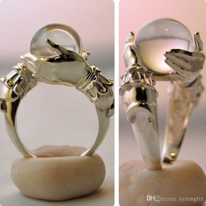 Vintage Creative Grasped Crystal Ball Ring For Women Men Wedding Party Engagement Fashion Jewelry US Size 5-10