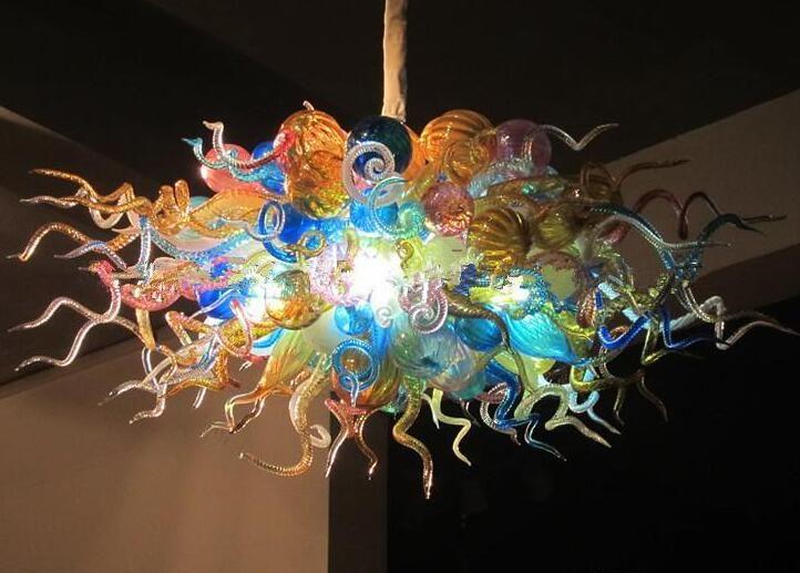 Multi colore Moderna Lampadari Lampadari Lampade a LED Fonte Tiffany Ciondolo in vetro colorato Light Art Decor Handmade Gals Blown Gals Appeso Chandelier Catena